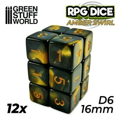 12x W6 16mm Spielwürfel D6 Dice - Bernstein Marmor Amber Swirl - GSW