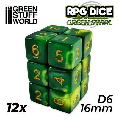 12x W6 16mm Spielwürfel - Grun Marmor Green Swirl D6 Dice - GSW