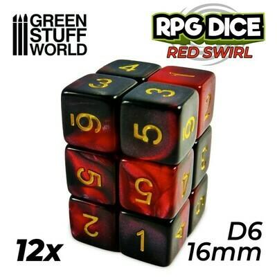 12x W6 16mm Spielwürfel - Rot Marmor Red Swirl D6 Dice - GSW