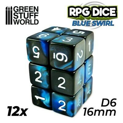 12x W6 16mm Spielwürfel - Blau Marmor Blue Swirl D6 Dice - GSW