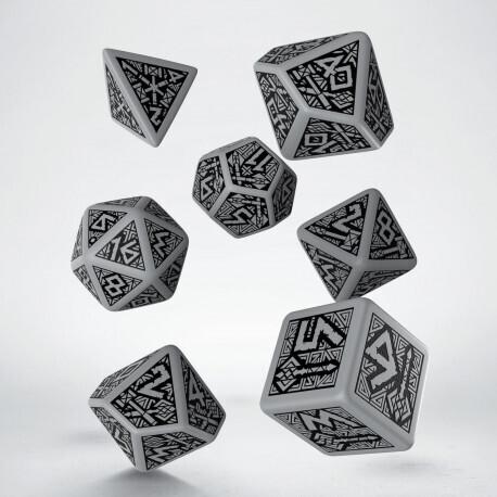 Dwarven Gray & black Dice Set (7) - Q-Workshop