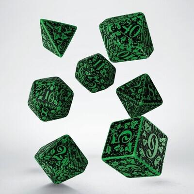 Forest 3D Green & black Dice Set (7) - Q-Workshop