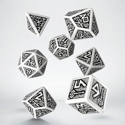 Dwarven White & black Dice Set (7) - Q-Workshop