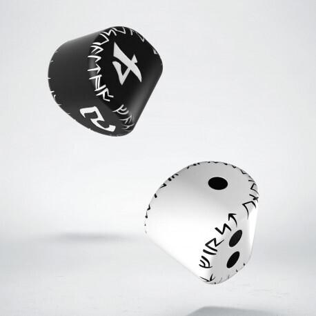 D2&D4 Runic Dice: 1x White&black D2 + 1x Black&white D4 (2) - Q-Workshop