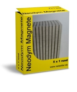 10 Neodym Magnete rund 5 x 1 mm