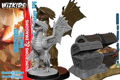 D&D Nolzur's Marvelous Miniatures - Bronze Dragon Wyrmling & Treasure