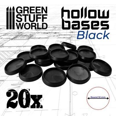 Runde Kunststoffbasen mit Vertiefung (Hollow Plastic Round) - Schwarz 32mm - Greenstuff World