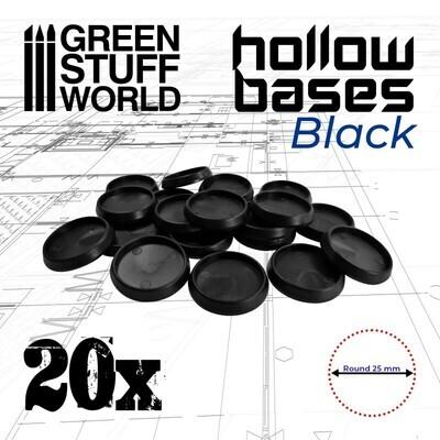 Runde Kunststoffbasen mit Vertiefung (Hollow Plastic Round) - Schwarz 25mm - Greenstuff World