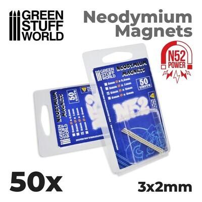 Neodym-Magnete 3x2mm - 50 stück (N52) - Greenstuff World