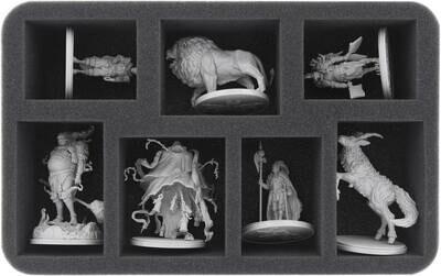 Schaumstoffeinlage mit sieben Fächern zum sicheren Aufbewahren von kleinen Miniaturen für Kingdom Death: Monster 1.5- Feldherr