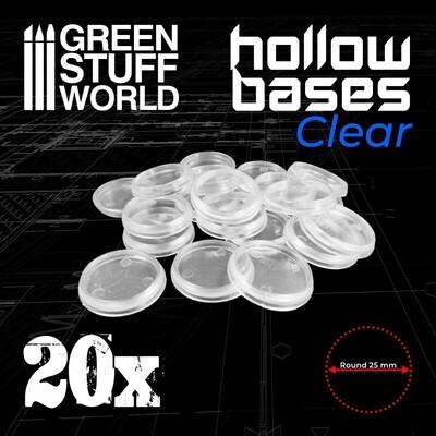 Transparente Runde Kunststoffbasen mit Lücke 25mm - Greenstuff World
