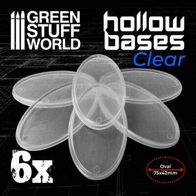 Transparente Kunststoffbasen mit Lücke 75x42mm - Oval (Hollow Plastic Oval) - Greenstuff World