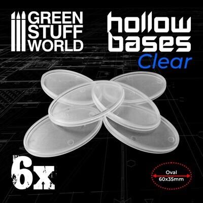 Transparente Kunststoffbasen mit Lücke 60x35mm - Oval (Hollow Plastic Oval) - Greenstuff World