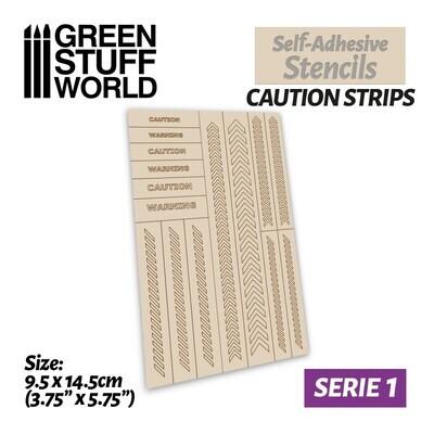 Selbstklebende Schablonen - Vorsichtsstreifen - Self-Adhesive Stencils - Caution Strips - Greenstuff World