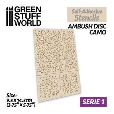 Selbstklebende Schablonen - Hinterhalt Disc Camo - Self-Adhesive Stencils - Ambush Disc Camo - Greenstuff World