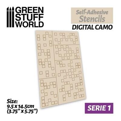 Selbstklebende Schablonen - Digitale Tarnung - Self-Adhesive Stencils - Digital Camo - Greenstuff World