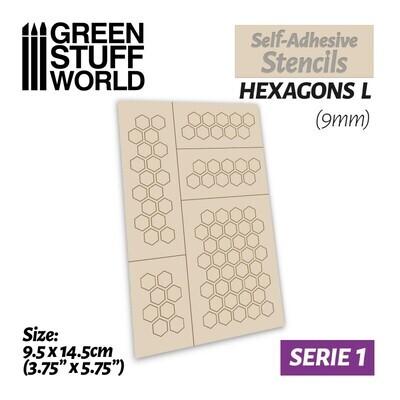 Selbstklebende Schablonen - Hexagons L - 9mm - Self-Adhesive Stencils - Greenstuff World