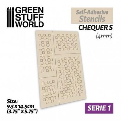 Selbstklebende Schablonen - Chequer S - 4mm - Self-Adhesive Stencils - Greenstuff World