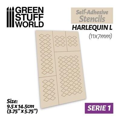 Selbstklebende Schablonen - Harlequin L - 11x7mm - Self-Adhesive Stencils - Greenstuff World