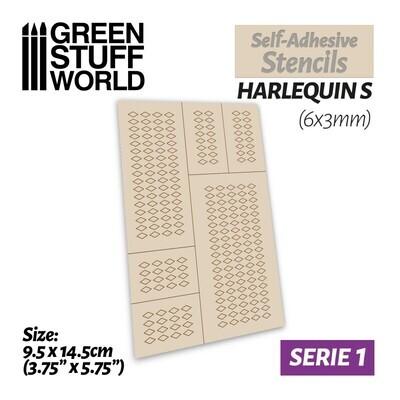 Selbstklebende Schablonen - Harlequin S - 6x3mm - Self-Adhesive Stencils - Greenstuff World