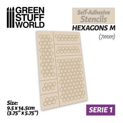 Selbstklebende Schablonen - Hexagons M - 7mm - Self-Adhesive Stencils - Greenstuff World