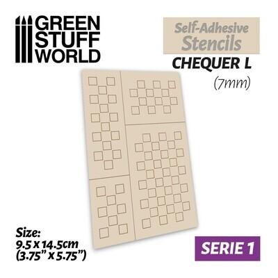 Selbstklebende Schablonen - Chequer L - 7mm - Self-Adhesive Stencils - Greenstuff World