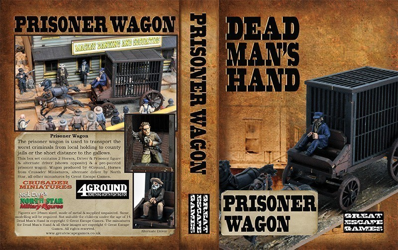 Prisoner Transport Wagon - including horses, prisoner and two drivers - Dead Man's Hand