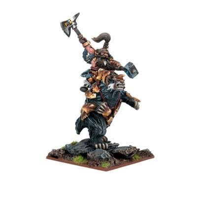 Dwarf Berserker Lord on Brock - Dwarfs - Kings of War - Mantic Games