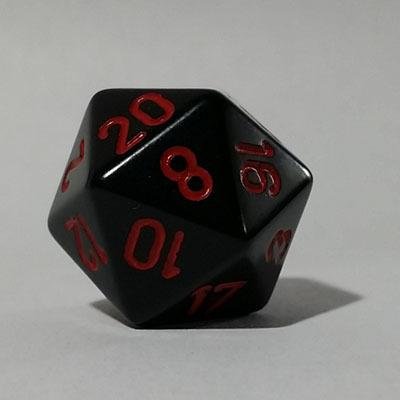 Schwarz Rot W20 Opaque D20 20mm - Chessex