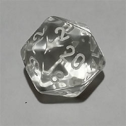 Crystal W20 Tanslucent D20 20mm - Chessex