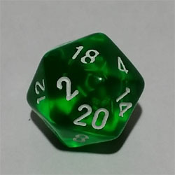 Green W20 Tanslucent D20 20mm - Chessex