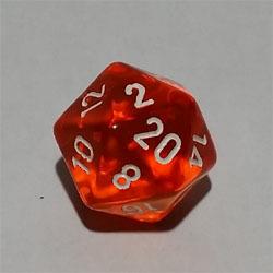 Orange W20 Tanslucent D20 20mm - Chessex