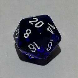 Blau W20 Tanslucent D20 20mm - Chessex