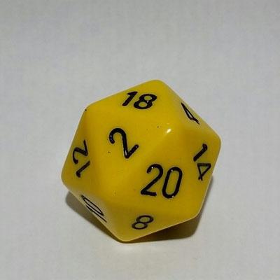 Gelb/Schwarz W20 Opaque D20 34mm - Chessex