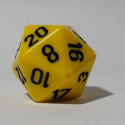 Gelb Schwarz W20 Opaque D20 20mm - Chessex