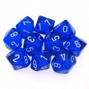 Blau/Weiss - Translucent Set of Ten D10's (10) - Chessex
