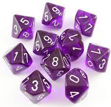 Violett/Weiss - Translucent Set of Ten D10's (10) - Chessex