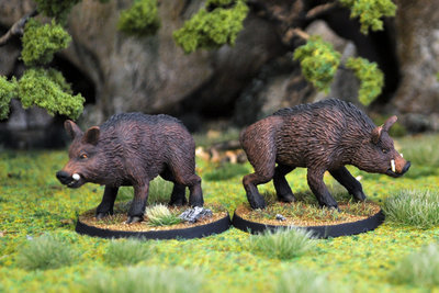 WE21a – Giant Boars I (2) - Otherworld Miniatures