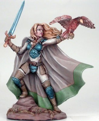 Female Ranger with Falcon and Long Sword - Dark Sword Miniatures