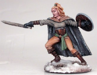 Wildling Spearwife with short sword and shield - Dark Sword Miniatures