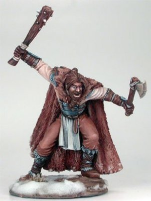 Wildling Warrior with Axe and Spiked Club - Dark Sword Miniatures
