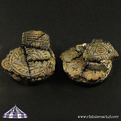Dark Temple Ruins 40mm Round Bases (2) - Bases - Ristul