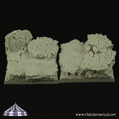 Dark Temple Ruins 40mm Square Bases (2) - Bases - Ristul
