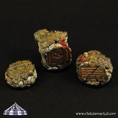 Dark Temple Ruins 25mm Round Scenic Bases (3) - Bases - Ristul