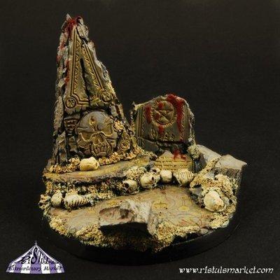 Dark Temple Ruins Fly 60mm Round Base (1) - Bases - Ristul