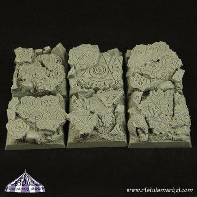 Dark Temple Ruins 25mm Square Bases (5) - Bases - Ristul