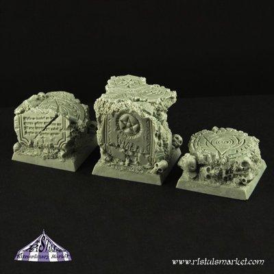 Dark Temple Ruins 25mm Square Scenic Bases (3) - Bases - Ristul
