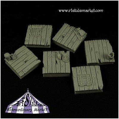 Wooden Floor 25mm Square Bases Set (5) - Bases - Ristul