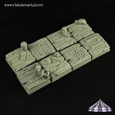 Wooden Floor 20mm Square Bases Set (5) - Bases - Ristul