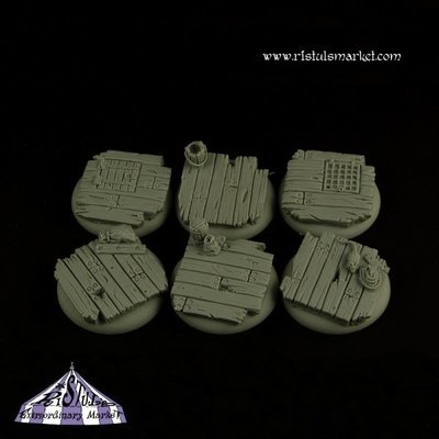 Wooden Floor 30mm Round Bases Set (5) - Bases - Ristul